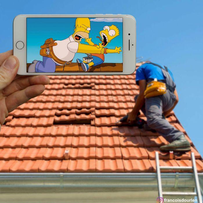 Homer e Bart Simpson (Francois Dourlen/Instagram)