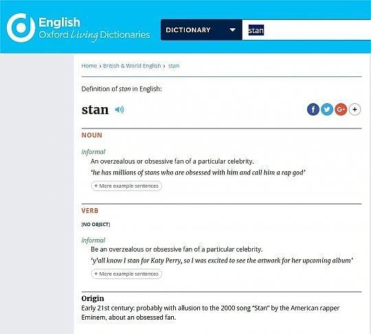 La parola 'stan' nell'Oxford English Dictionary (OED)