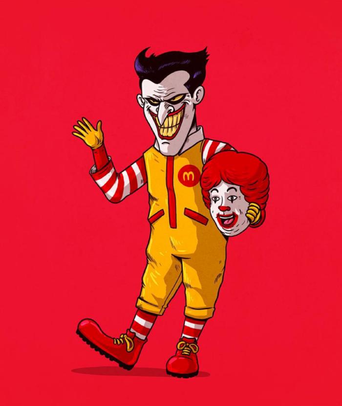 Ronald McDonald è Joker (Alex Solis/Icons Unmasked)