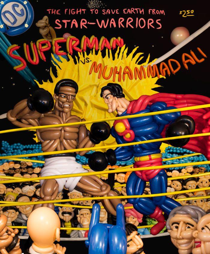 La versione di Phileas Flash della cover di Superman Vs Muhammad Ali (Balloon Heroes)