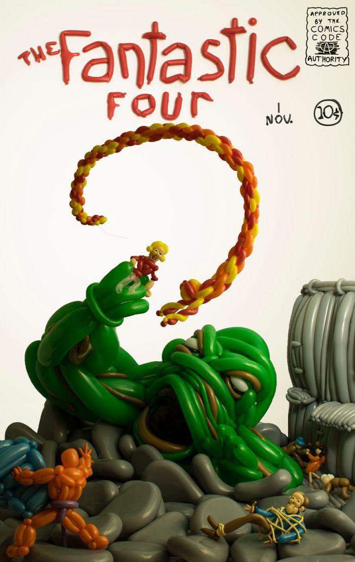 La versione di Phileas Flash della cover del primo numero dei Fantastici Quattro (Balloon Heroes)