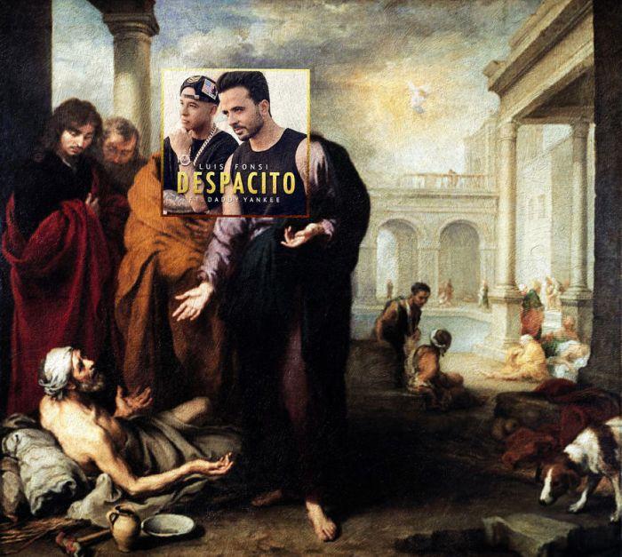 Despacito di Luis Fonsi feat. Daddy Yankee/Christ healing a paralytic at the pool of Bethesda di Bartolome Esteban Murillo (Eisen Bernardo)