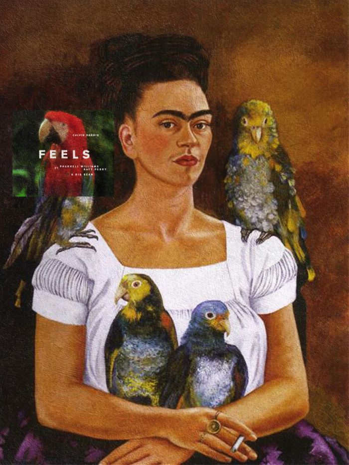 Feels di Calvin Harris feat. Katy Perry, Pharrel e Big Sean/Me and my parrots di Frida Kahlo (Eisen Bernardo)