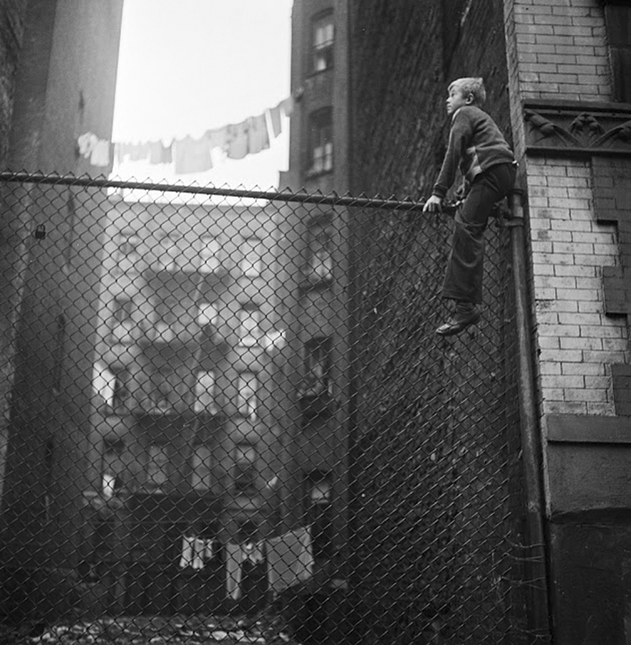 Shoe shine boy (on fence), 1947