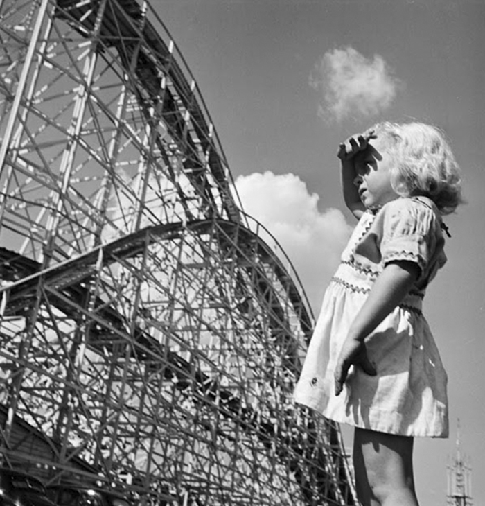 Young girl at Palisades Amusement Park, 1946