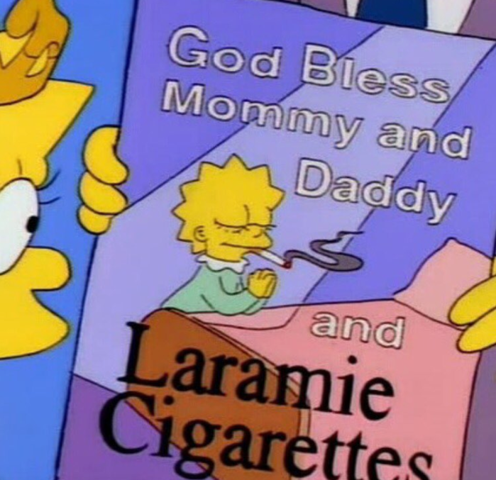 God bless mommy and daddy and Laramie Cigarettes (Simpsons Library/Instagram)