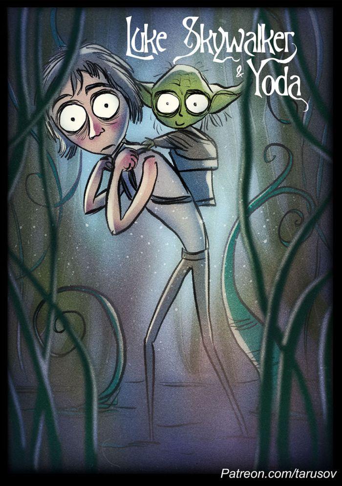 Luke Skywalker e Yoda (Andrew Tarusov)