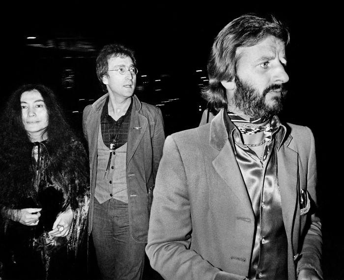 Yoko Ono, John Lennon e Ringo Starr, 1976 (Brad Elterman)
