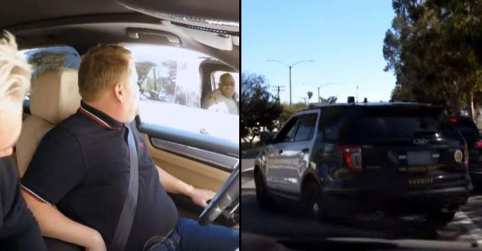 Adam Levine e James Corden affiancati dalla polizia (Carpool Karaoke/CBS)