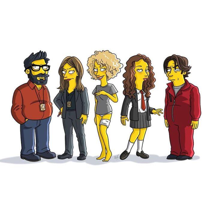 Da sinistra: Angel Rubio, Raquel Murillo, Monica, Alison Parker e Arturo Roman (Simpsonized/Adrien Notedaem)