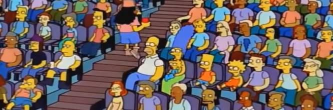 I Simpson sugli spalti durante la finale mondiale (Simpson/Fox)