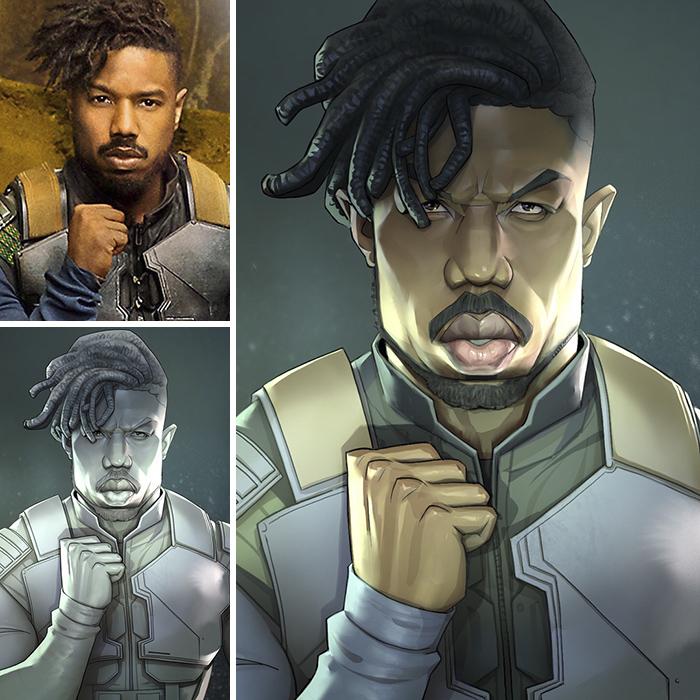 Michael B. Jordan/Erik Killmonger - Black Panther (Xi Ding)