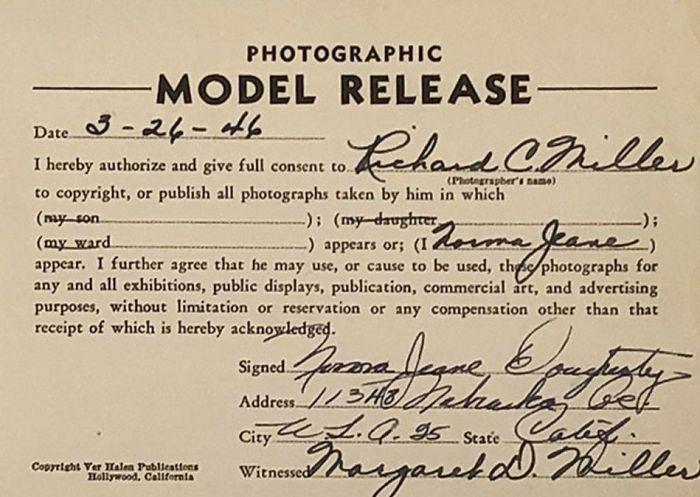La liberatoria originale firmata da Marilyn Monroe